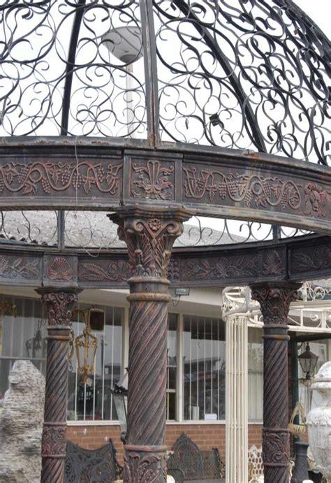 12 Foot English Victorian Cast Iron Gazebo Architectural Cast Iron Pergola