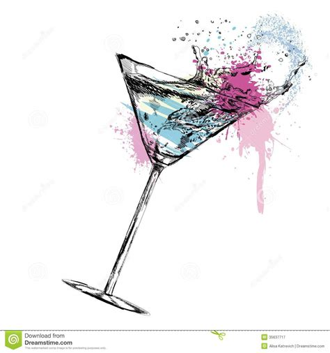 vintage martini illustration martini cocktail with vector illustration stock vector