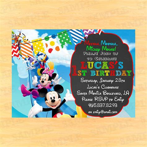 mickey mouse clubhouse invitation wording mickey mouse - Mickey Mouse Birthday Invitation Wording