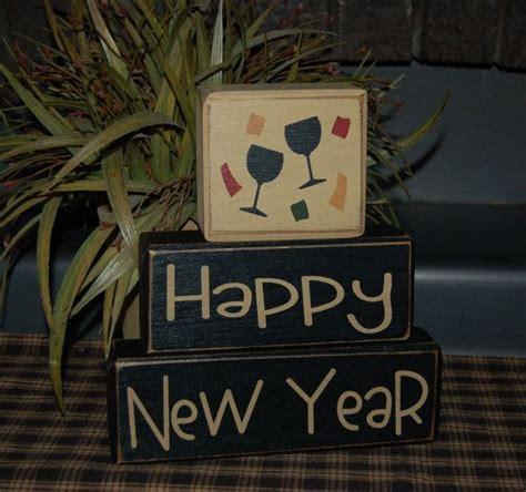 Ballard Home Designs happy new year wood sign blocks holiday seasonal primitive