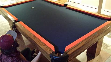 denver broncos pool table cloth on an 8 foot brunswick