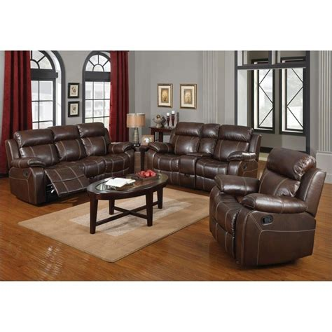 Coaster Myleene Leather 3 Piece Reclining Leather Sofa Set Brown Leather Recliner Sofa Set