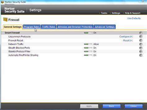 norton control panel lantica software support center