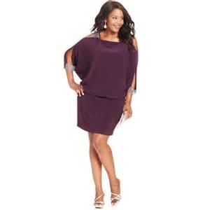 betsy amp adam plus size splitsleeve blouson dress in purple