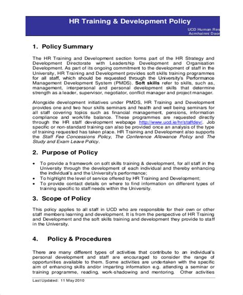 free policy template hr policy template 17 free word excel pdf documents