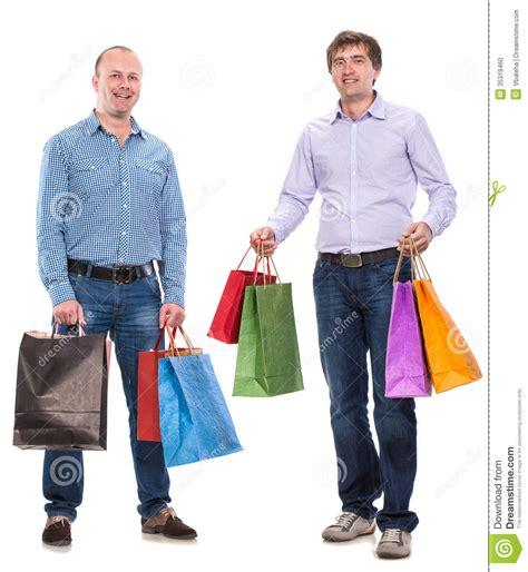 White And Blue Tiles In Bathroom Two Men With Shopping Bags Stock Photo Image 35319460