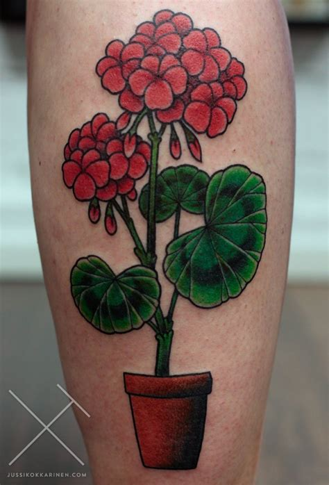 wonderful geranium flowers tattoo design for leg