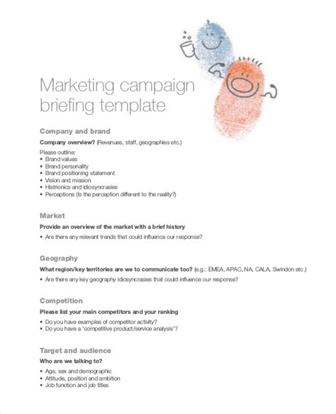 marketing caign template digital marketing caign brief template digital photos