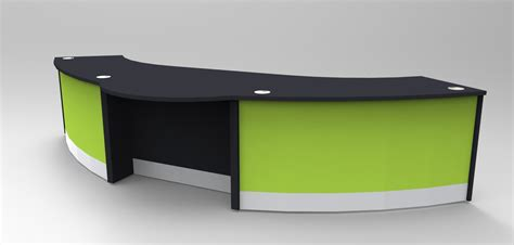 dda reception desk aero dda reception desk finished in black with lime green