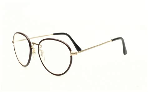 timeless panto eyeglasses golden with brown rims