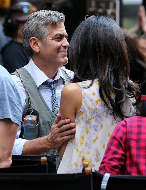 George Clooney Kisses For The Right Price by Amal Clooney Visits Husband George Clooney On The Set Of
