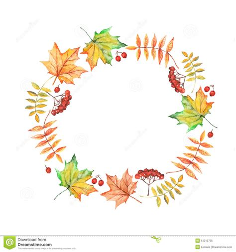 Poster Bingkai Frame Fall Upon vector watercolor circle frame with autumn leaves and berries stock vector image 51019755