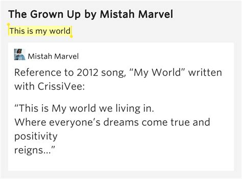my lyrics meaning this is my world the grown up lyrics meaning