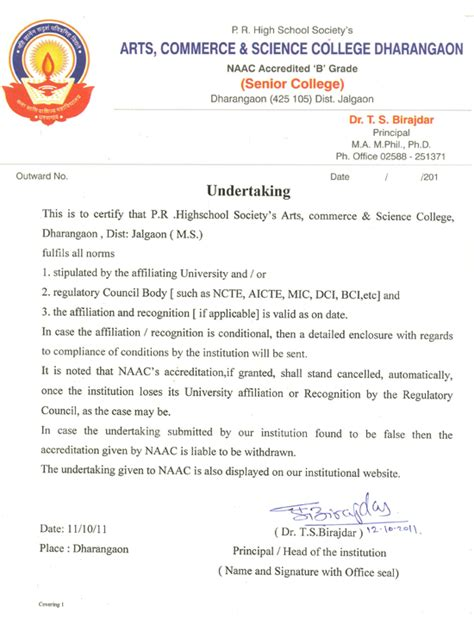 College Undertaking Letter Arts Commerce And Science College Dharangaon