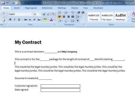 Using A Word 2003 Xml Template With Sharepoint List Data Sharepoint Click Contract Template Word 2003