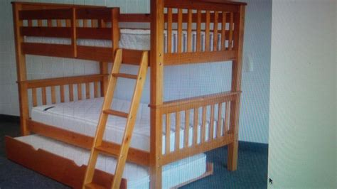 Solid Pine Single Over Double Bunk Beds With Trundle Bed Single Bunk Bed With Trundle