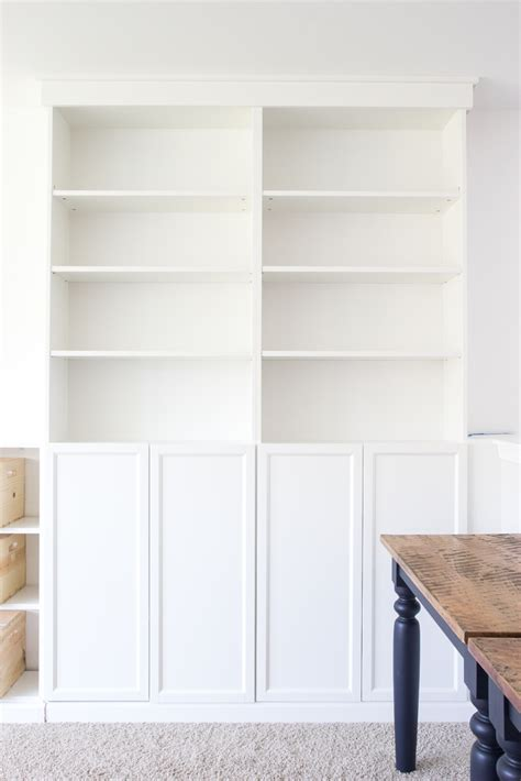 Billy Bookcase Built In With Doors Diy Built Ins From Ikea Bookcases Orc Week 2 Bless Er House