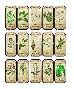 Wall Mural Decals Cheap vintage inspired assorted herb spice food tea bottle jar