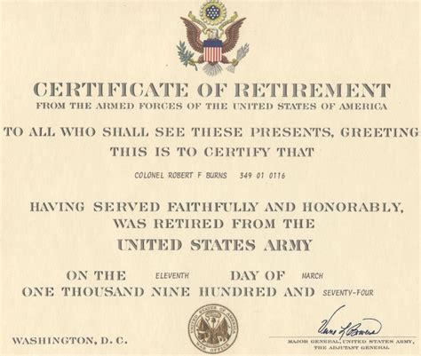 certification letter for retirement major robert f burns army retirement certificate
