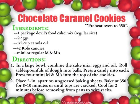 printable christmas cookie recipe cards chocolate caramel christmas cookies the taylor house