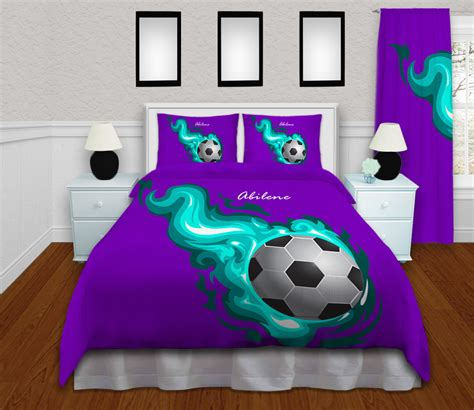soccer bedding  girls  teal flames purple background  eloquent innovations