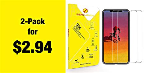 deal 2 pack iphone xs max tempered glass screen protectors for 2 94 today only