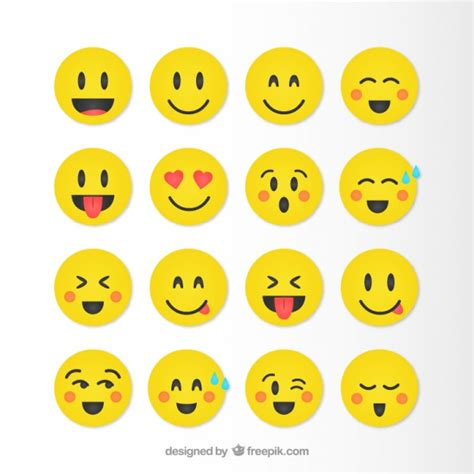 emoticons printable list funny smileys collection in yellow color vector free