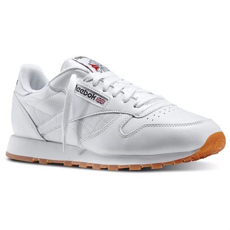 reebok classic sneakers reebok 49797 cl lthr classic leather gum sole all white