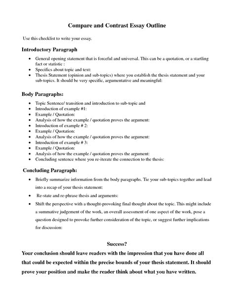 Compare And Contrast Essay Topics College by Compare Contrast Essay Outline Search Education Outlines College And