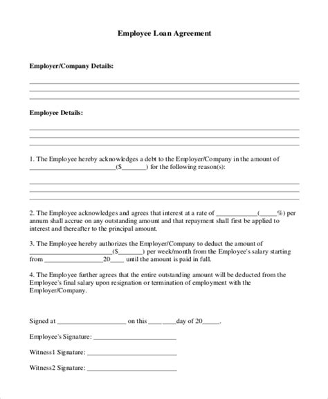9 Sle Loan Agreement Form Sle Exle Format Employee Repayment Agreement Template