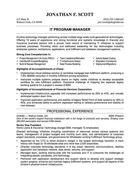 It Manager Objective Resume by It Professional Resume Exles Recentresumes
