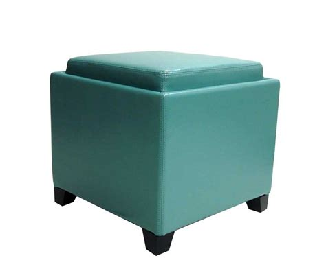 Armen Living Contemporary Storage Ottoman With Tray Sky Storage Ottoman Blue