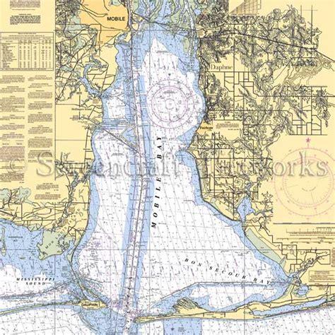 Coastal Decor Area Rugs Alabama Daphne Mobile Mobile Bay Nautical Chart Decor