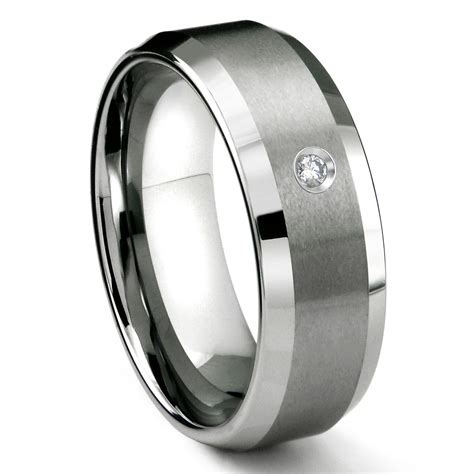 Tungsten Wedding Rings by Tungsten Carbide 8mm Satin Finish Beveled