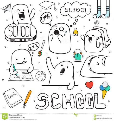 free vector doodle characters set doodle characters and school facilities anime