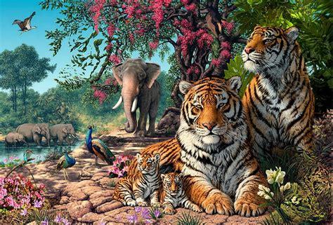imagenes animales jungla im 225 genes arte pinturas paisajes de la jungla con tigres