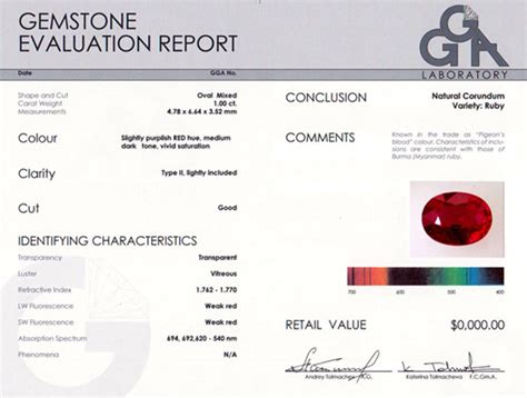 report and certificate gemstone evaluation