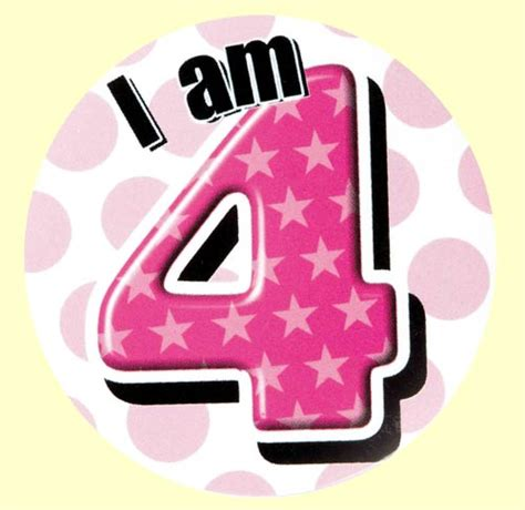 4th birthday badge pink party wizard