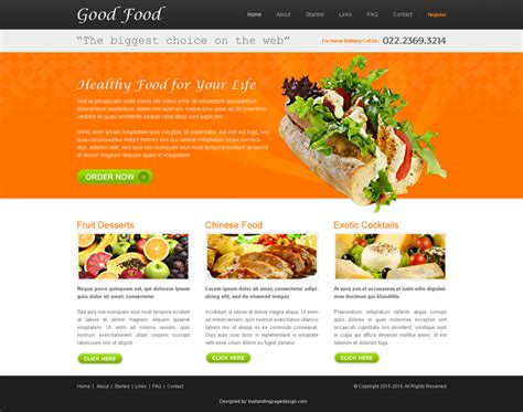 home page design sles good food website design psd sale 008 website template