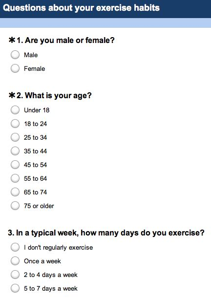 questionnaire sample word what are your exercise habits the social lauren