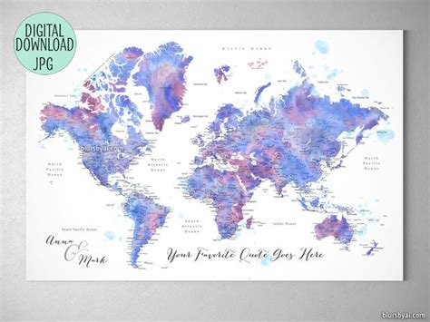 custom quote blue  purple watercolor printable world