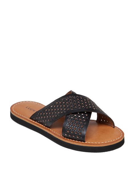 lucky brand sandals lucky brand dadeen leather sandals in black lyst