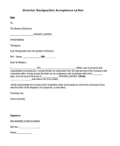 Resignation Letter For Director by 56 Acceptance Letters