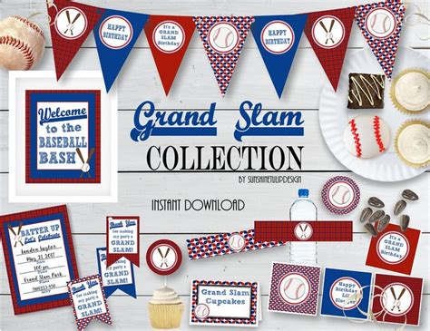 printable baseball party decorations printable baseball birthday party collection printable