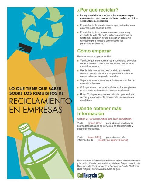 English And Spanish Language Commercial Recycling Flyer Climate Change Brochure Template