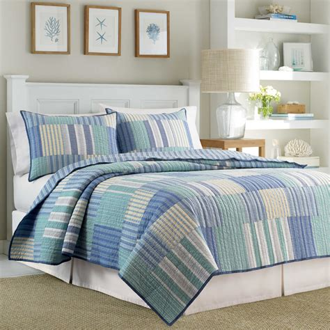 Nautical Bed Set Bedroom Reversible Cotton Nautica Quilts With Light Blue