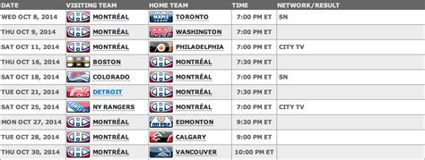 printable habs schedule 2014 15 canadiens schedule released season begins october