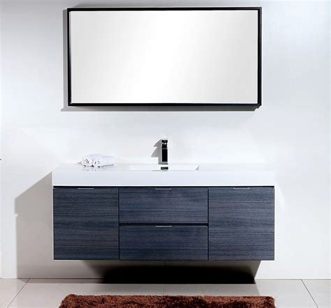 high gloss grey bathroom cabinets bliss 60 quot high gloss gray oak wall mount single sink vanity