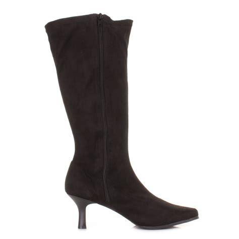 womens black stretch knee high kitten heel wider calf fit