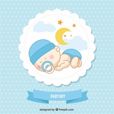 baby fullmoon card template baby boy card vector free